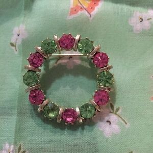 Vintage bright pink and green circle pin